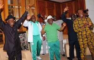 President Goodluck Jonathan and his aides could not hide their excitement as they watched Nigeria-Bosnia nail-biting match.