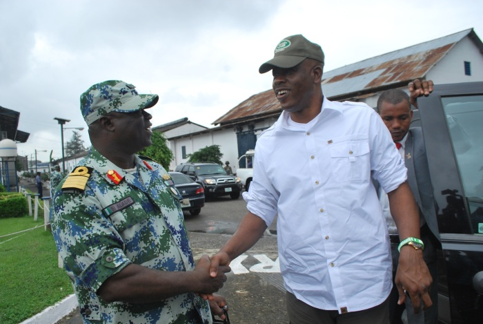 Minister of State for Defence (right) arriving Apapa for his inspection tour of the ports and being received by the Flag Officer Commanding (FOC), Western Naval Command, Rear Admiral Samuel Ilesanmi Alade