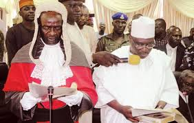 AAlhaji Ahmadu Fintiri being sworn-in yesterday as Acting Governor
