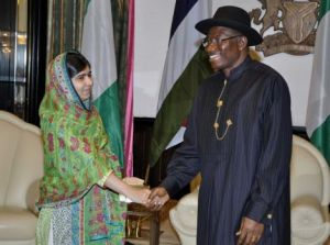 Malala Yousafzai and President Goodluck Jonathan