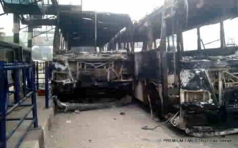 Vandalised BRT buses